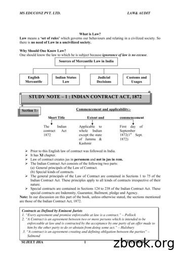 STUDY NOTE – 1 : INDIAN CONTRACT ACT, 1872