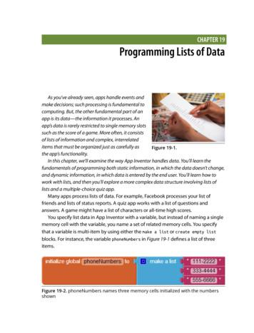 CHAPTER 19 Programming Lists of Data - Appinventor