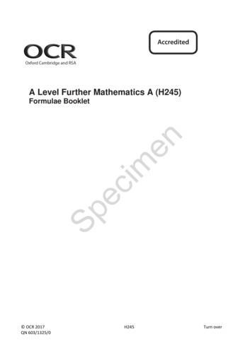 OCR A Level Further Mathematics A H245 Formulae Booklet
