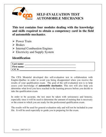 SELF-EVALUATION TEST AUTOMOBILE MECHANICS