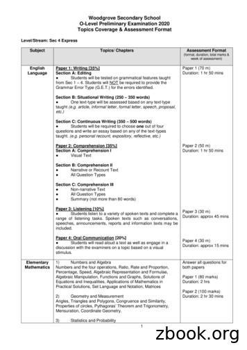 Woodgrove Secondary School O-Level Preliminary Examination .