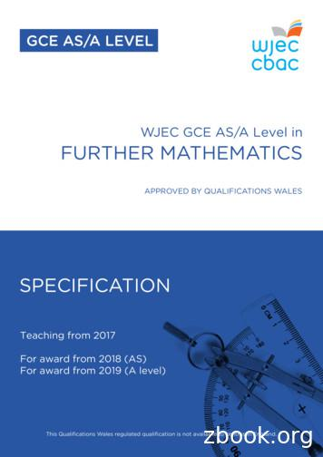 WJEC GCE AS/A Level in FURTHER MATHEMATICS