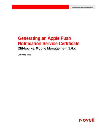 ZENworks Mobile Management 2.6.x Generating an Apple Push .