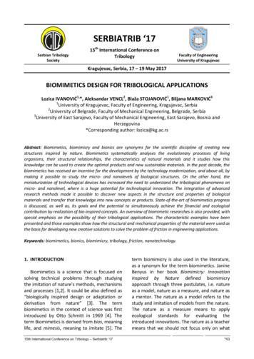 Biomimetics design for tribological applications