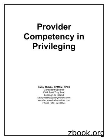 Provider Competency in Privileging Resource