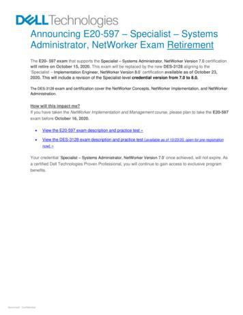 Announcing E20-597 Specialist . - Dell Technologies