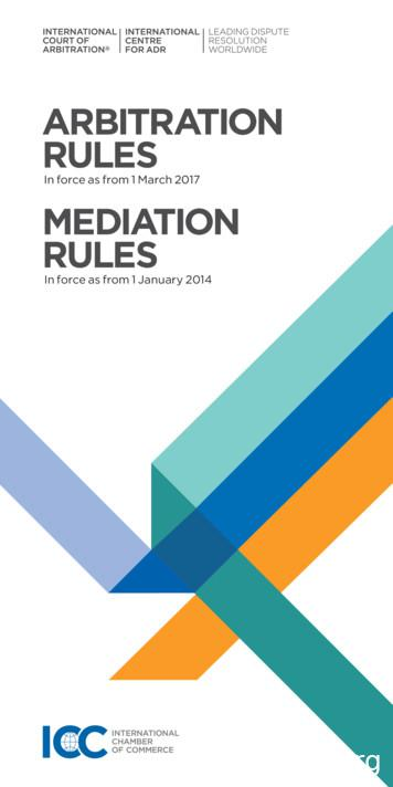 880-4 Rules of Arbitration - Mediation Rules - ICC