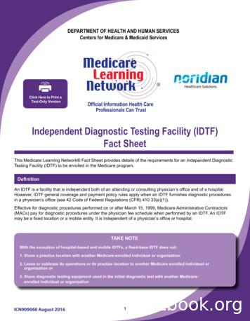 Independent Diagnostic Testing Facility (IDTF)