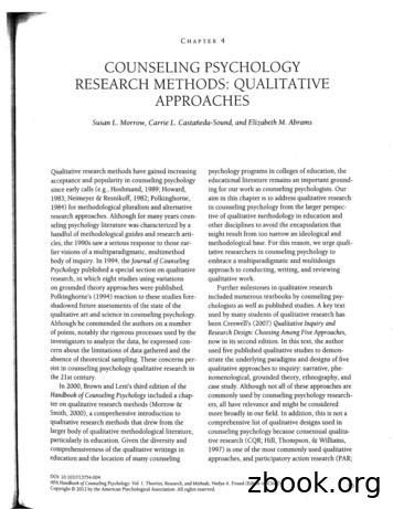COUNSELING PSYCHOLOGY RESEARCH METHODS: QUALITATIVE APPROACHES