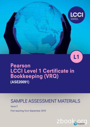 Pearson LCCI Level 1 Certifi cate in Bookkeeping (VRQ)