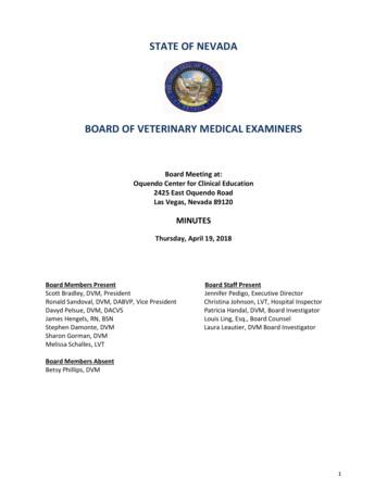 STATE OF NEVADA BOARD OF VETERINARY MEDICAL EXAMINERS