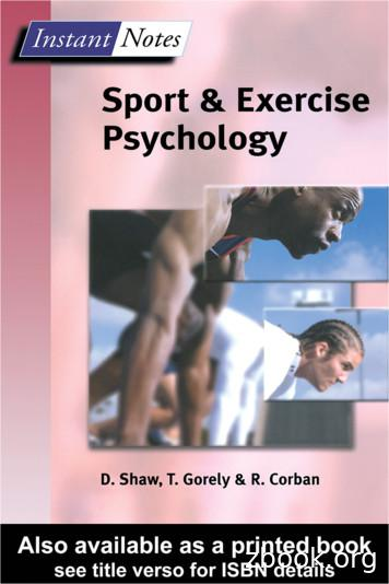 Instant Notes: Sport and Exercise Psychology