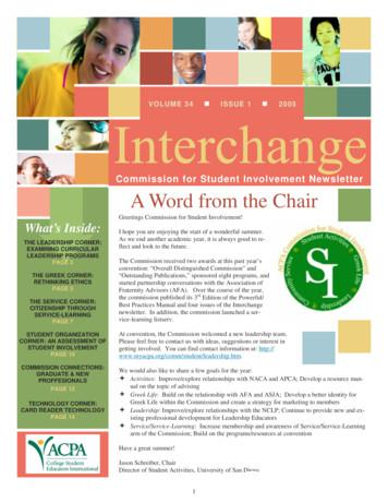 Commission for Student Involvement Newsletter A Word from .