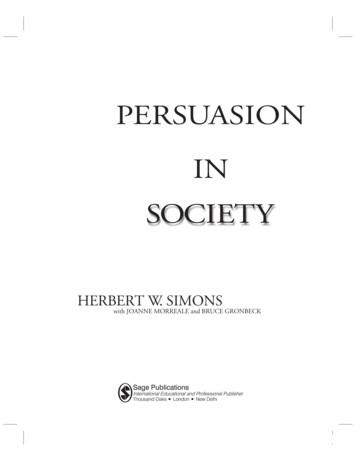 PERSUASION IN SOCIETY - Professional development book .