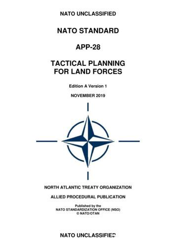 NATO STANDARD APP-28 TACTICAL PLANNING FOR LAND FORCES