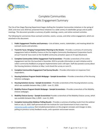 Complete Communities Public Engagement Summary