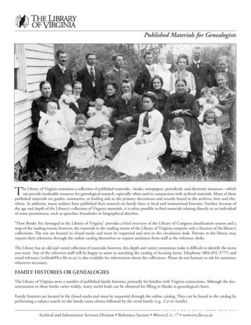 Published Materials for Genealogists