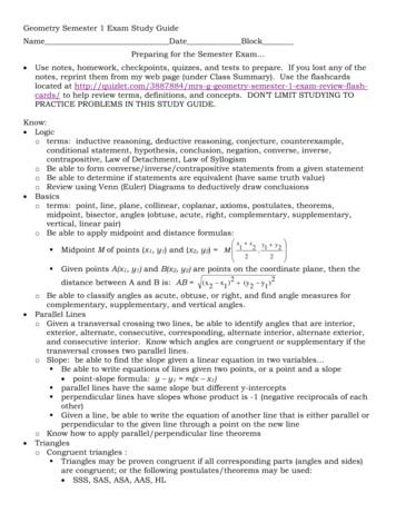 Geometry Semester 1 Exam Study Guide