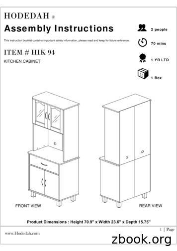 Assembly Instructions 2 people 70 mins ITEM # HIK 94