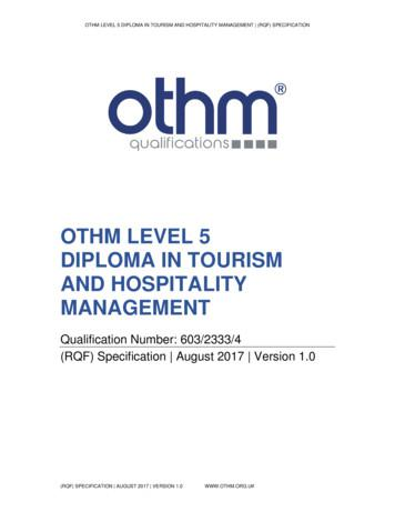 OTHM LEVEL 5 DIPLOMA IN TOURISM AND HOSPITALITY MANAGEMENT