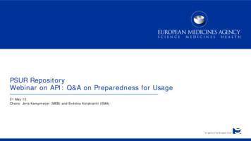PSUR Repository Webinar on API: Q&A on Preparedness for Usage