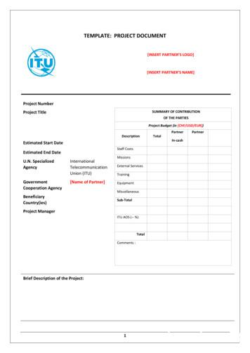 TEMPLATE: PROJECT DOCUMENT - ITU