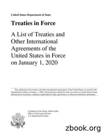 United States Department of State Treaties in Force