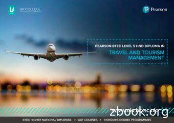 PEARSON BTEC LEVEL 5 HND DIPLOMA IN TRAVEL AND TOURISM .