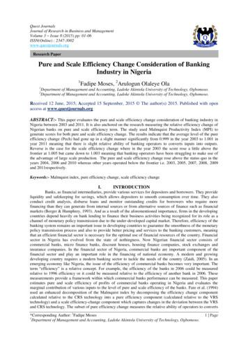 Pure and Scale Efficiency Change Consideration of Banking .