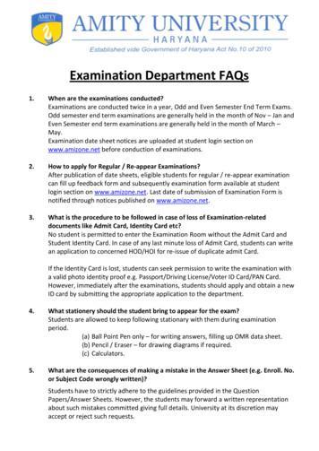 Examination Department FAQs - Amity University, Noida
