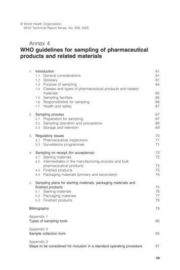 Annex 4 WHO guidelines for sampling of pharmaceutical .