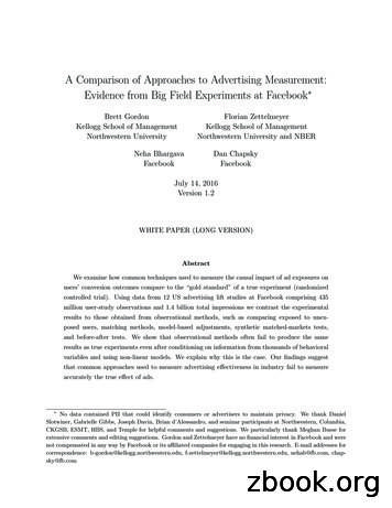 A Comparison of Approaches to Advertising Measurement .