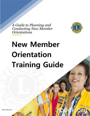 New Member Orientation Training Guide