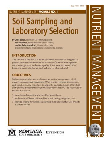 MODULE NO. 1 Soil Sampling and 1 Laboratory Selection