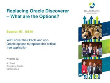 Replacing Oracle Discoverer – What are the Options?