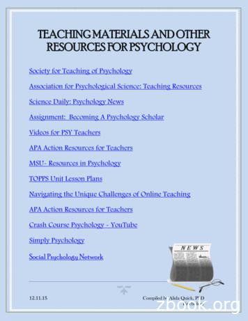 TEACHING MATERIALS AND OTHER RESOURCES FOR PSYCHOLOGY