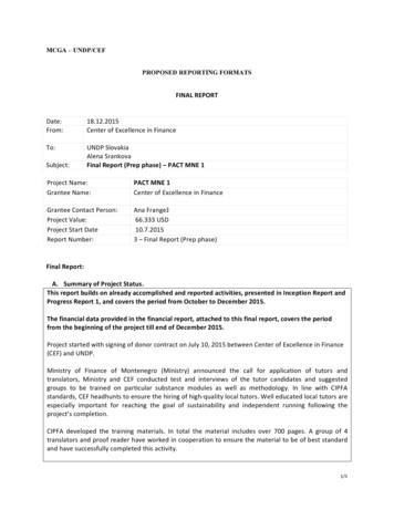 MCGA – UNDP/CEF PROPOSED REPORTING FORMATS - PUBLIC FINANCE