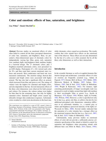 Color and emotion: effects of hue, saturation, and brightness