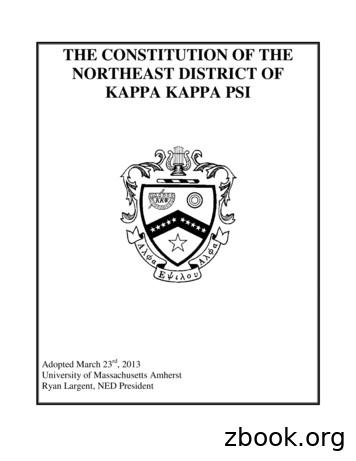 THE CONSTITUTION OF THE NORTHEAST DISTRICT OF KAPPA KAPPA PSI
