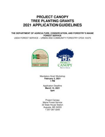 PROJECT CANOPY TREE PLANTING GRANTS 2021 APPLICATION .