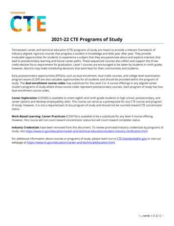 2021-22 CTE Programs of Study - TN.gov