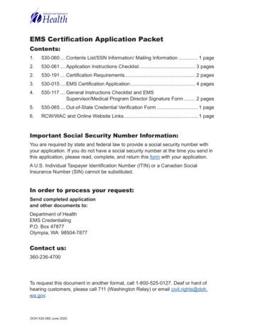 Initial EMS Certification Application Packet