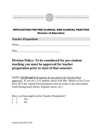 Division Policy: To be considered for pre-student teaching .