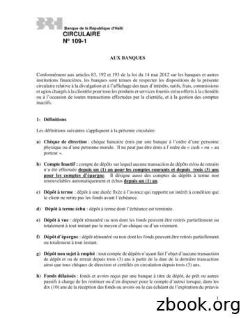 Banque de la République d'Haïti CIRCULAIRE No 109-1