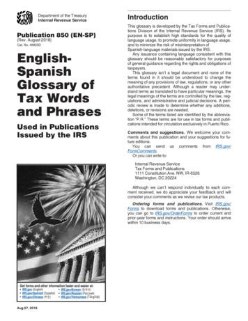 and Phrases Tax Words Glossary of Spanish English-
