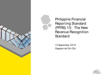 strong Philippine Financial Reporting Standard (PFRS /strong ) 15: strong The /strong