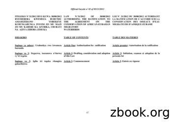 ITEGEKO N 31/2012 RYO KUWA 30/08/2012 LAW N 31/2012 OF 30 .