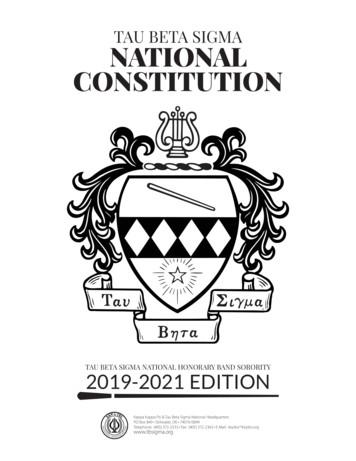 TAU BETA SIGMA NATIONAL CONSTITUTION