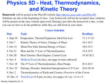 Physics 5D - Heat, Thermodynamics, and Kinetic Theory