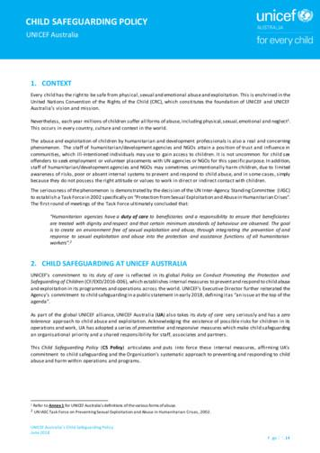 CHILD SAFEGUARDING POLICY - UNICEF